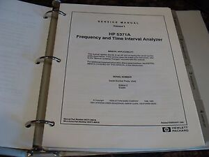 Agilent Hp 5371a Frequency Time Interval Analyzer Service Manual Volume 1