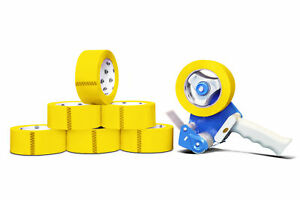 12 Rolls 2 Yellow Color Packaging Packing Tape 2 Mil X 55 Yards With Dispenser
