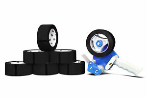 12 Rolls 2 Black Color Packaging Packing Tape 2 Mil X 55 Yards With Dispenser