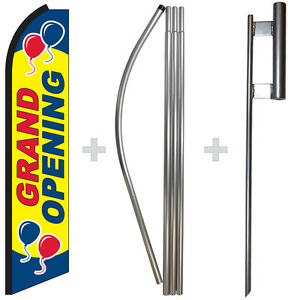 Grand Opening 15 Tall Swooper Flag Pole Kit Feather Super Bow Banner