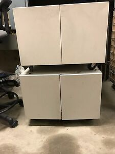 2 Metal Printer Cart cabinets On Wheels