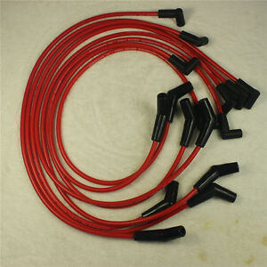396 427 454 502 Fit Bbc Chevy Hei Red Spiral Core Spark Plug Wires 45 Degree End