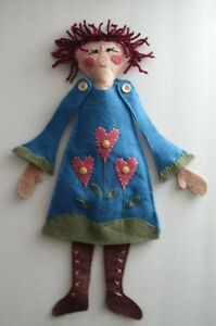 Tulip Primitive Decor Rag Ann Doll Folk Art Felt Country