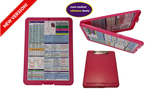 Nursing Storage Clipboard pink With 2 Quick Reference Sheets great For Clinical
