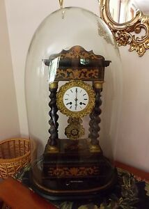 Fabulous Antique French Portico Clock 1835 50 All Original With Glass Dome
