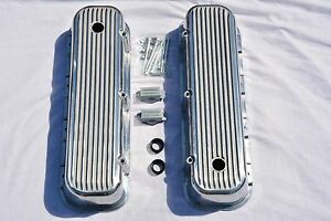 Polished Aluminum Big Block Chevy Tall Finned Valve Covers Bbc 396 427 454 502