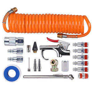 Air Compressor Hose Tool Kit 1 4 Nptcoil Pu Hose Blow Gun Tire Gauge 20 Piece