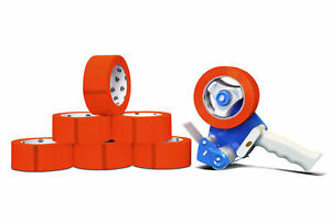 3 Carton Sealing Packing Tape Red Color 2 Mil X 55 Yds 48 Rolls W dispenser