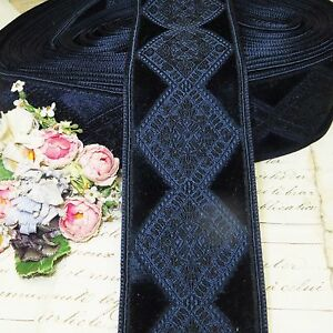 1y Vtg 1 5 Blue Navy Velvet Ribbon Trim Diamond Jacquard Brocade Edwardian Antq