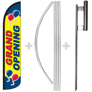 Grand Opening 15 Tall Windless Swooper Feather Banner Flag Pole Kit