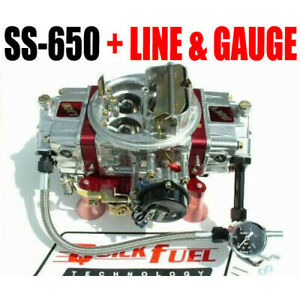 Quick Fuel Ss 650 650 Cfm Gas Mech Carb 6 Fuel Line Kit With 15 Psi Gauge