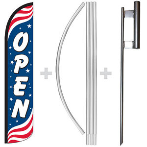 Open Patriotic 15 Tall Windless Swooper Feather Banner Flag Pole Kit