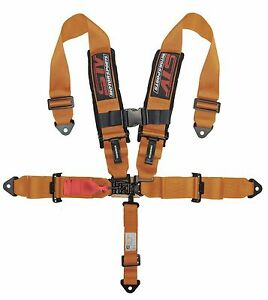 Universal Orange 5 Point Latch And Link Racing Seat Belt Harness Sfi
