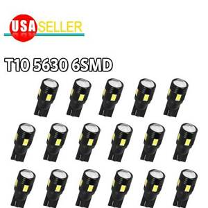 20x High Power White T10 Wedge 6smd Led License Plate Dome Interior Light Bulbs