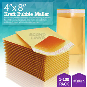 4 x8 Kraft Self Seal Bubble Mailer Padded Envelope 000 4x8 Inch 25 50 100 500