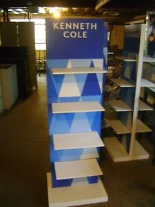8 Shelf Two Sided Retail Tall Blue White Store Display