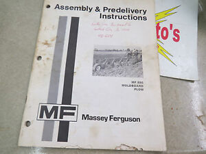 Massey ferguson Assembly Predelivery Instructions Mf 880 Moldboard Plow