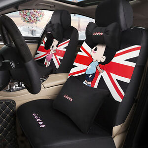 1 Set Of 15 Pcs Cute Boy Girl Cool Car Seat Cover Sitting Cushion