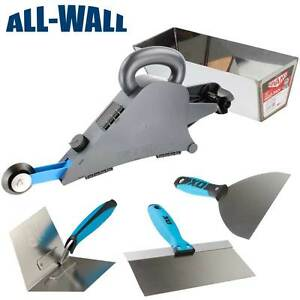 Delko Drywall Banjo Taping Tool W corner Wheel Mud Pan Ox Pro Knife trowel Set