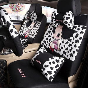1 Set Of 15 Pcs Cute Cow Print Girl Cool Car Seat Cover Sitting Cushion