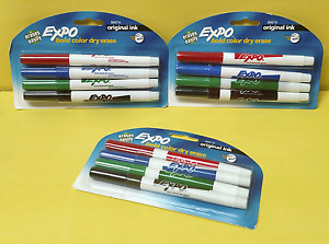3 Packs Expo 84674 Bold 4 color Dry Erase Markers Fine Tip New Sealed