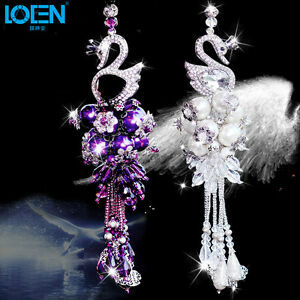 Swan Crystal Car Pendant Auto Rearview Mirror Ornament Hanging Pendant Charm New