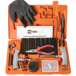 Tire Repair Tools Kit To Fix Tubeless Punctures Plug 61 Piece Heavy Duty Set