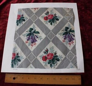 Antique French Botanical Rose Hand Blocked Printed Chintz Sample C 1850 1860