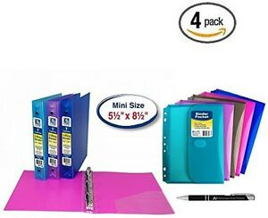 4 Pack C line 3 ring Poly Binder Mini Size 5 5 X 8 5 1 inch Capacity