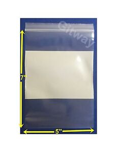 5 X 7 White Block Writeable Resealable Zip Top Lock Clear Plastic Bags 4 Mil