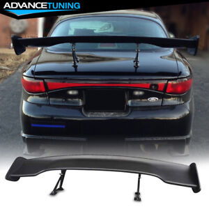 Universal 57 Inch Jdm Gt Style Adjustable Trunk Spoiler Unpainted Black Abs