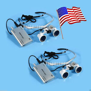 Usa Dental 3 5x Surgical Binocular Loupes Magnifier Glasses Led Headlight Lamp