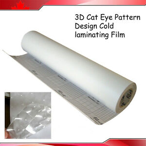 Free Shipping 3d Cat Eye Pattern Design Cold Laminating Film 0 7x21 6yd Printing
