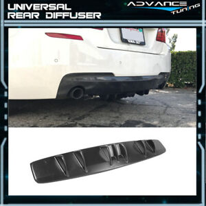 Universal Fitment V5 Style Rear Bumper Lip Diffuser Kit Unpainted Black Abs