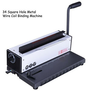 34 Square Holes Metal Wire Coil Punching Binding Machine Paper Binder Puncher