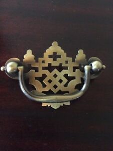 Vtg Look Lace Cut Out Chinese Chippendale Drawer Pull Handle Hardware 2 5 Nos
