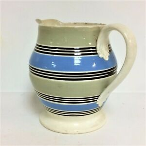 Large Antique 19th Century Mochaware 4 Color Pitcher 7
