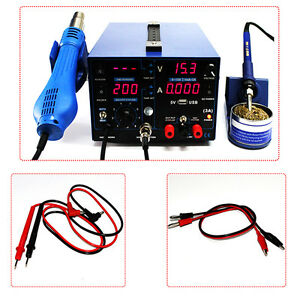 3in1 Soldering Station Smd Rework Hot Air Repair Dc Power Supply 853d 1a 2a 3a