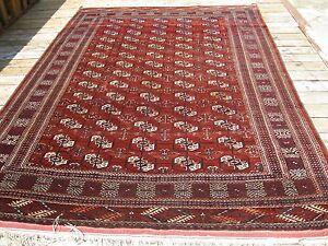 Antique 1900 1910 Bukhara Rug Full Pile With Great Colors 9 7 X 6 6 Great