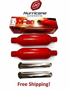 2 Cherry Bomb M80250 M 80 Single 1 Chamber Mufflers 2 5 In Out Plus Chrome Tips