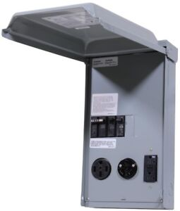 Ge 100 Amp 3 space 3 circuit 240 volt Unmetered Rv Outlet Box With 50 30 20 Amp