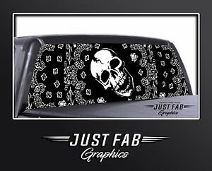 Bandanna Skull Rear Window Perf Graphic Decal Tint Truck Suv Chevy Ford