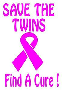 Breast Cancer Save The Twins Find A Cure Vinyl Decal Car Sticker 5 X 6 5 Th2