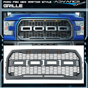 For 15 17 Ford F150 Raptor Style Mesh Front Bumper Grille Hood With Led Lamps