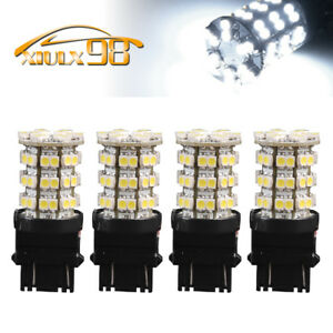 4x White 3157 3156 60smd Led Light Bulbs Tail Brake Stop 3528 3157a 6000k
