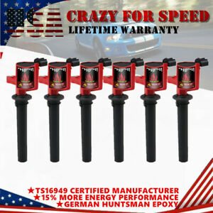 High Performance 6 Pack Ignition Coil Fit Ford Escape Mercury Mazda V6 3 0l Red