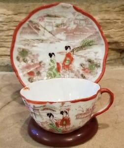 Vintage Japanese Hand Painted Eggshell Scenic Demi Tea Cup Saucer Set Japan