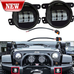 2x Cree 4 Round Led Fog Lights 30w For 2007 2014 Jeep Wrangler Jk Off Road Suv