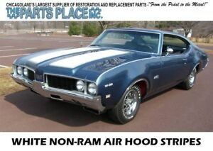 1969 70 Cutlass 442 W29 W42 Non ram Air Hood Stripe Kit White