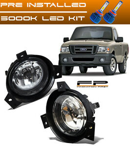 2001 2002 2003 Ford Ranger Replacement Fog Lights Clear Lens Front Lamps Led